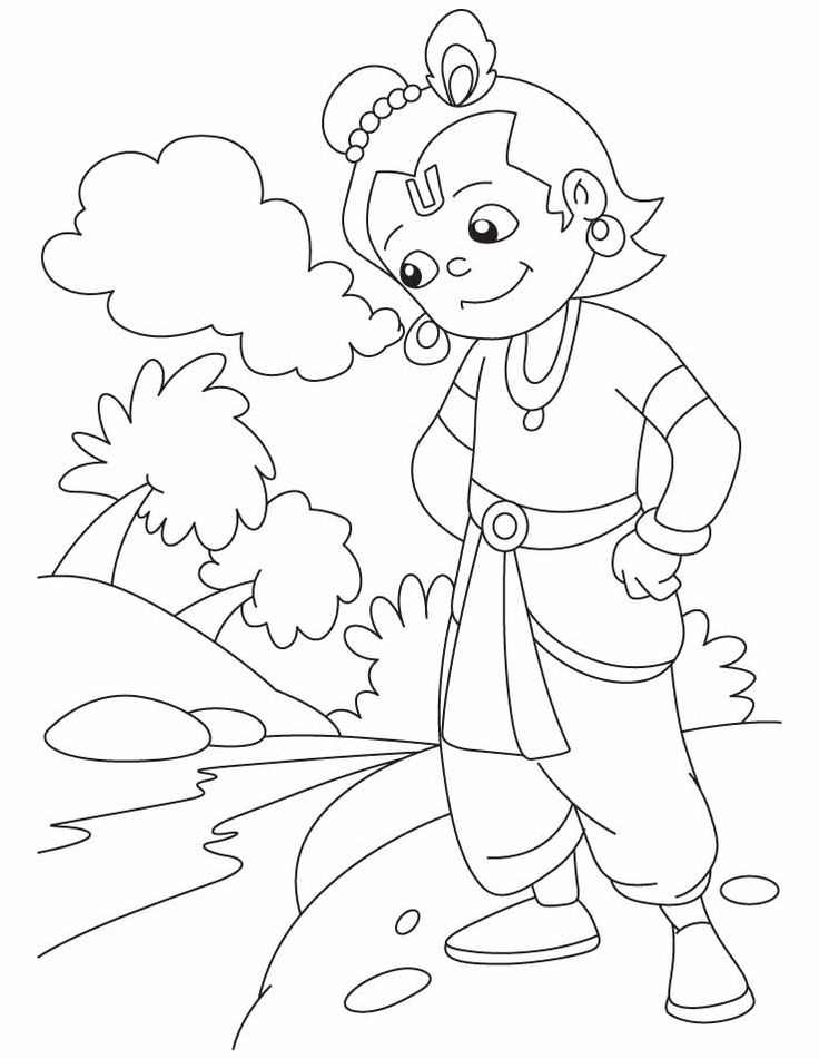 Hindu God Krishna Coloring Pages | Art drawings for kids ...