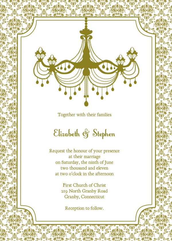 Vintage Chandelier Wedding Invitation Template U2013 Free