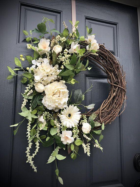 White Wreaths Wedding Wreaths Wedding Decor White Door Wreaths