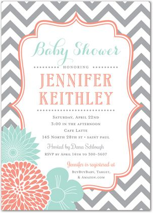 Coral Mint Flowers with Grey Chevron Baby Shower Invitations