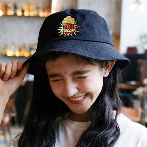 Popcorn embroidered hat for girls stylish black bucket hats