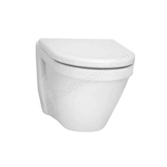 Vitra S50 Wall Hung Pan & Soft-close Seat with White Cover - 5318L003-0075 & 72-003-309 Kit | Ideal Bathrooms