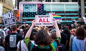 A demonstration in New York City against Donald Trump's proposal to ban transgender people from military service.