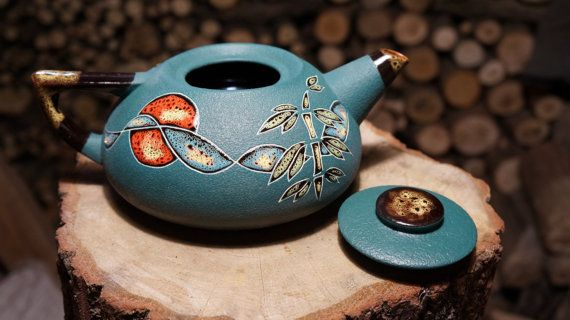Hostess gift Teapot Chinese spring Green teapot Ceramic tea
