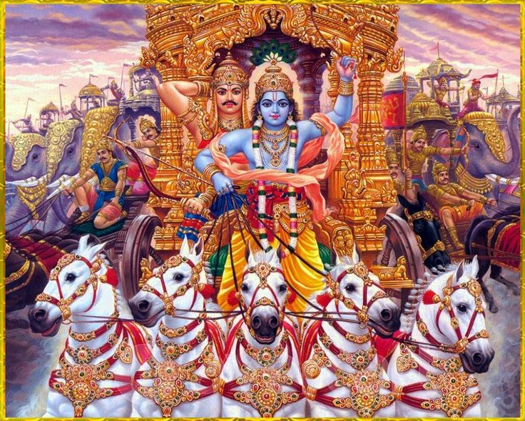 """SHRI KRISHNA & ARJUNAArtist: C.SivasSanjaya said:""""Wherever there is Krishna, the master of all mystics, and wherever there is Arjuna, the supreme archer, there will also certainly be opulence, victory, extraordinary power, and morality. That is my opinion.""""~Bhagavad Gita as it is 18.78"""