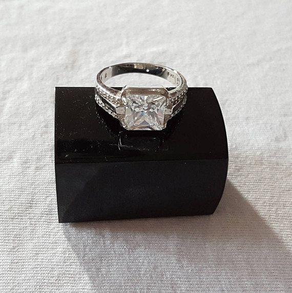 Les Femmes Fiançailles Mariage Sapphire Ring cristal strass Anneaux Bijoux Cadeau
