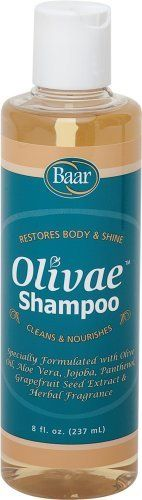 Olivae Shampoo, 8 oz. by Baar. $6.95. Leaves Hair Lustrous. Enriched with Olive Oil. Formulated for All Hair Types. Protein for Body & Sheen. Nourishes Hair & Scalp. Enriched With Olive Oil  This unique and pleasant formula cleans your hair and leaves it lustrous. It is a rich blend of Olive Oil for nourishing hair and scalp, Aloe Vera for moisturizing and protecting, Jojoba to repair damaged hair, Panthenol to thicken and increase luster, and Protein for body and sheen. It ...
