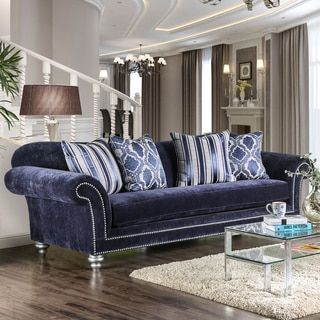 Shop For Alema Glam Navy Microfiber Sofa By Furniture Of America . Get Free  Shipping At. Furniture OutletOnline ...
