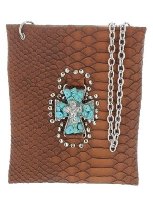 Turquoise Cross Studded Leather Crossbody Purse