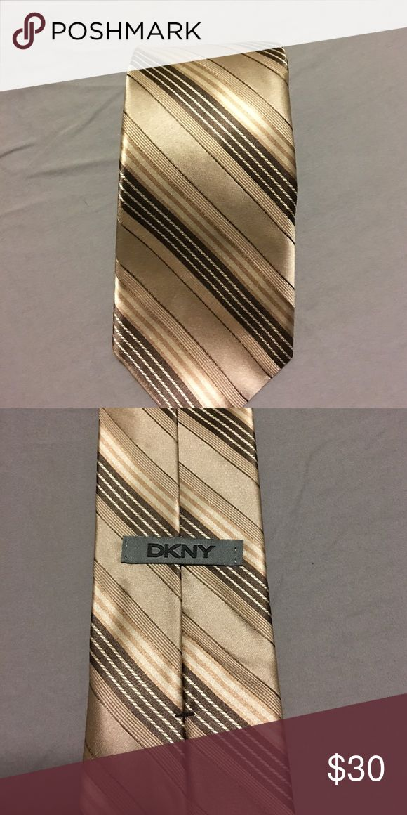DKNY tan stripes tie DKNY brown/tan striped tie Accessories Ties