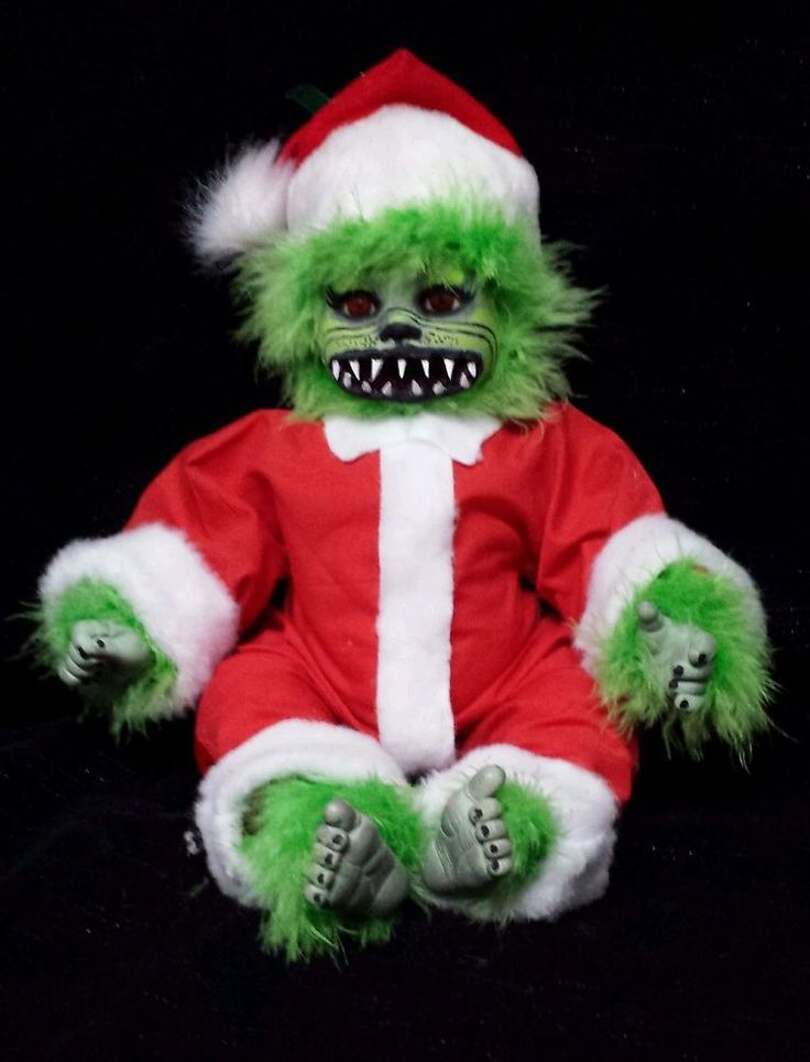 zombie baby grinch santa claus doll haunted christmas decoration halloween prop - Baby Grinch Halloween Costume
