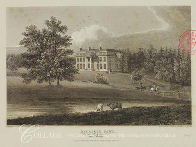 Delaford Park, Uxbridge    View of Delaford Park at Uxbridge in Middlesex; Uxbridge is now in the London borough of Hillingdon.    1811