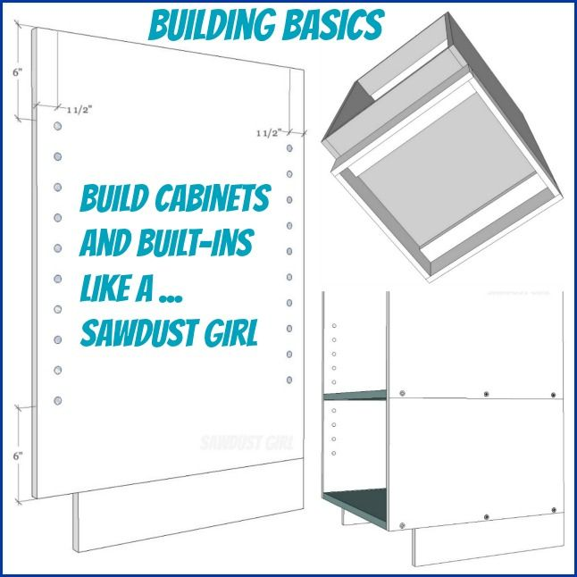 Tips, techniques and standard practices on building cabinets and built-ins - free and easy plans from https://sawdustgirl.com.