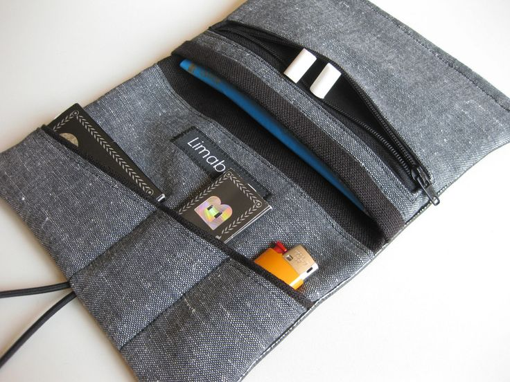 """Cases & Mini Bags – Leather """"Black"""" Tobacco Pouch with zipper pocket – a unique product by limabaum on DaWanda"""