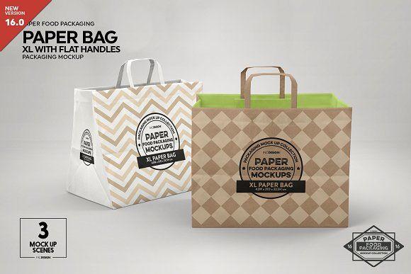 Download Xl Paper Bags Flat Handles Mockup Design Mockup Free Mockup Psd Psd Mockup Template