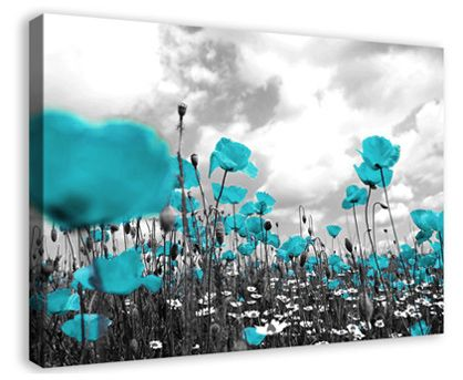 Teal Poppies Floral Flower Deep Box Framed Canvas Wall Art Print Picture