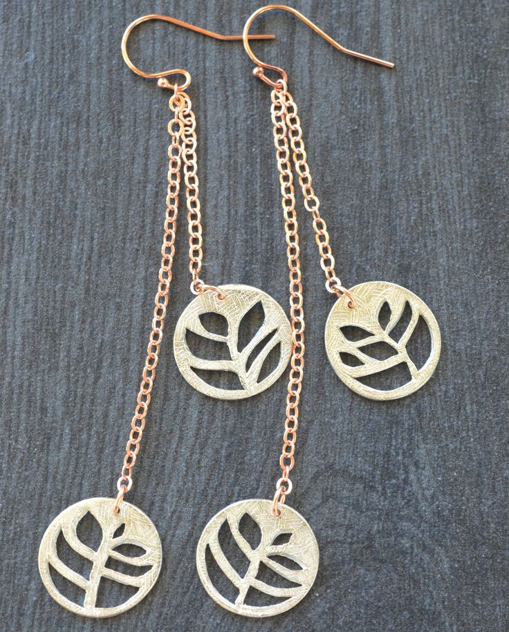 Silver Dangle Earrings on Rose Gold-fill chain by Luminous Design Store on Etsy  #leafearrings  #dangleearrings