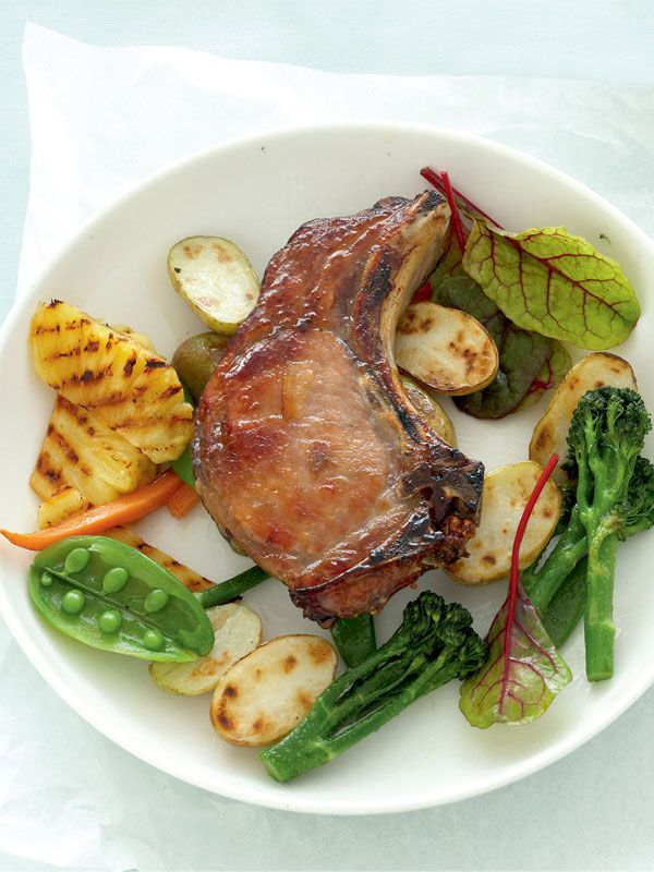 Glazed Pork With Grilled Pineapple