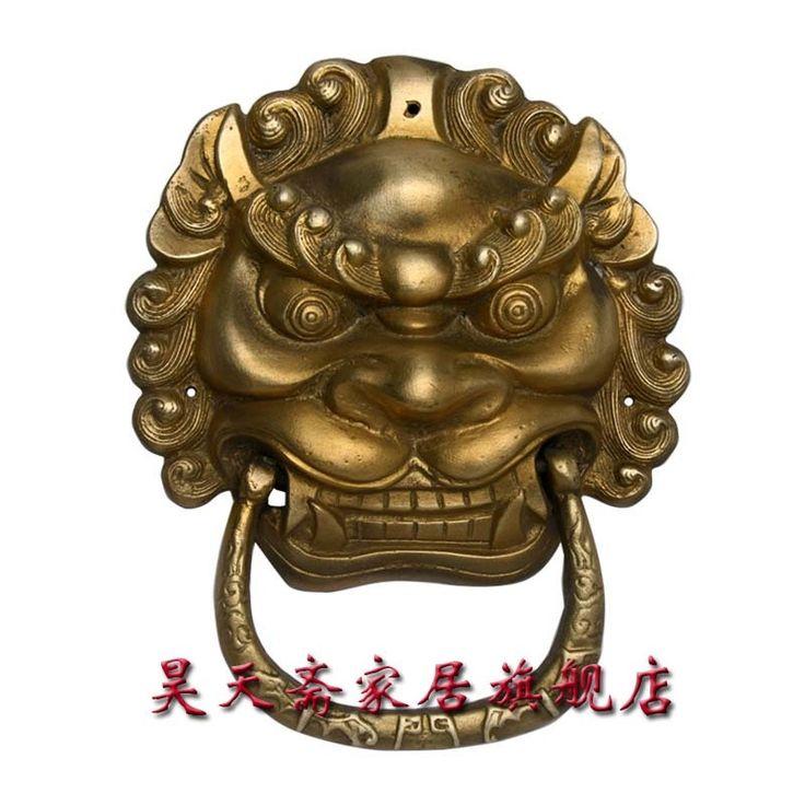 200.00$  Buy here - http://ali5ez.worldwells.pw/go.php?t=32423911822 - [Haotian vegetarian] antique brass door knocker town house evil beast copper lion head door knocker door handle HTA-008