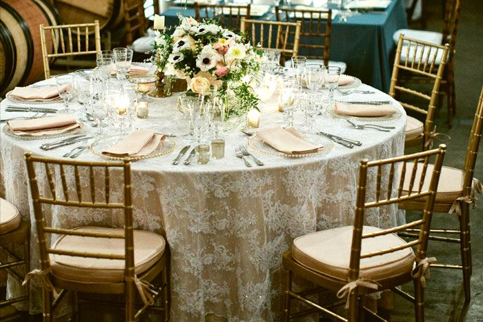 Gorgeous! Our lace overlays are thrift store finds which used to be curtains, so they will all be white but different patterns, and some more rectangular so it won't cover the entire table. Definitely gets the look across though! :)
