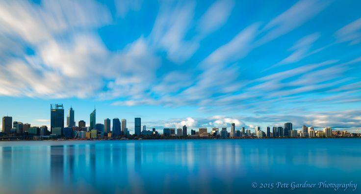 L3M2AS2c Perth CBD from the South Shore. Nikon D810, Sigma 24mm Art Prime, 135 sec exposure with 10 stop ND filter, f/16, ISO 31, WB 5678K. Minor adjustments to vibrance and saturation. I wanted to smooth the water and get some dynamism in the sky, as I was short of time and couldn't wait for the sun to set, I stopped down to the smallest aperture of this lens, the lowest ISO, and slapped on the big stopper after manually focusing to get the sharpest image.