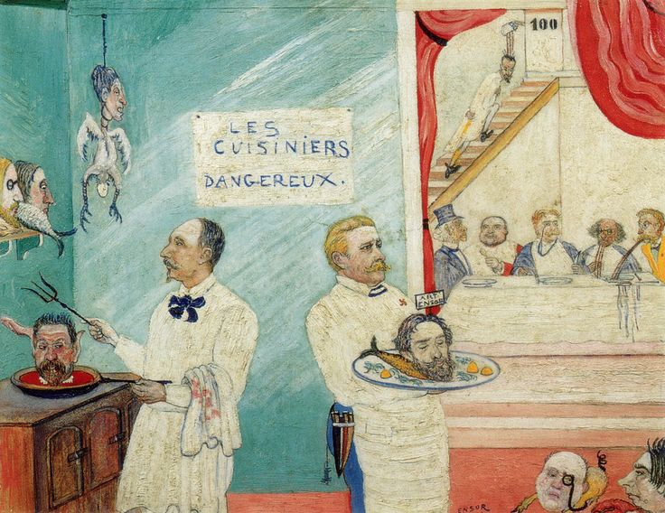 Les cuisiniers dangereux (The Dangerous Cooks)[1] (1896) is a work by James Ensor The work satirizes Ensor's power struggle within Les Vingts; he portrays Edmond Picard and Octave Maus as two cooks, serving Ensor's head on a platter like John the Baptist. Via gwengold