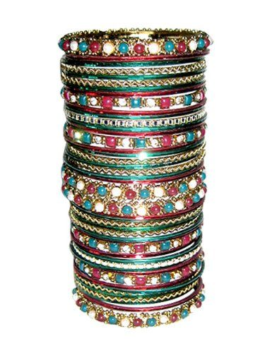 Amazon.com: Indian Bangles Metallic Red Green Gold Bollywood Traditional Bridal Bangles Set: Mogul interior: Jewelry $24.99