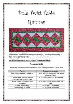 Pole Twist Table Runner Pdf Quilts Pinterest Table