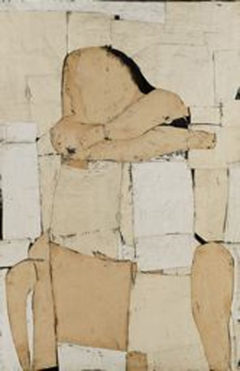 Seated Figure, 1953-54.  Conrad Marca-Relli. Collage. Oil and canvas on linen, 73 1/4 x 48 1/2 inches