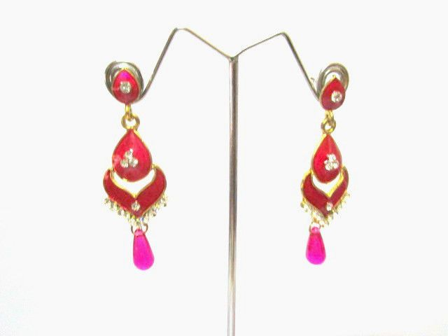 Pink pearl drop earrings in golden base