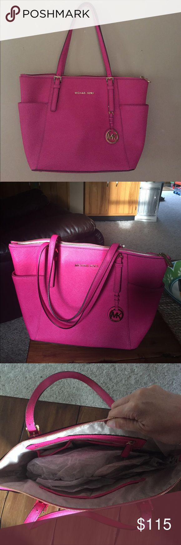 Michael Kors tote Pink Michael's Kors jet set tote. Bought from another posher, I love the tote just too big for me. Michael Kors Bags Totes
