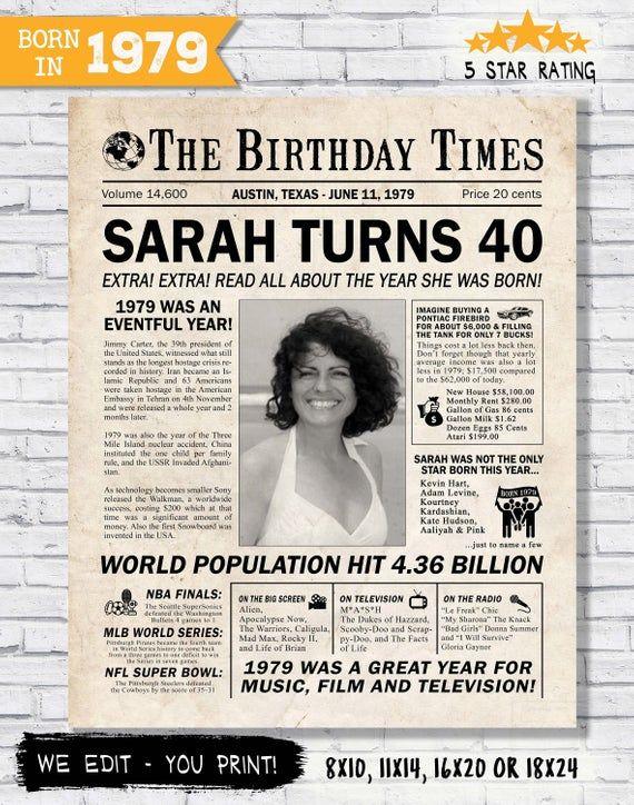 40th Birthday Chalkboard Born in 1979 Purple Stats Poster