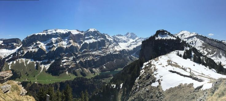 Appenzell Alps - a panoramic view from Ebenalp to Marwees, Altmann, Zisler, Schäfler and Seealpsee from above