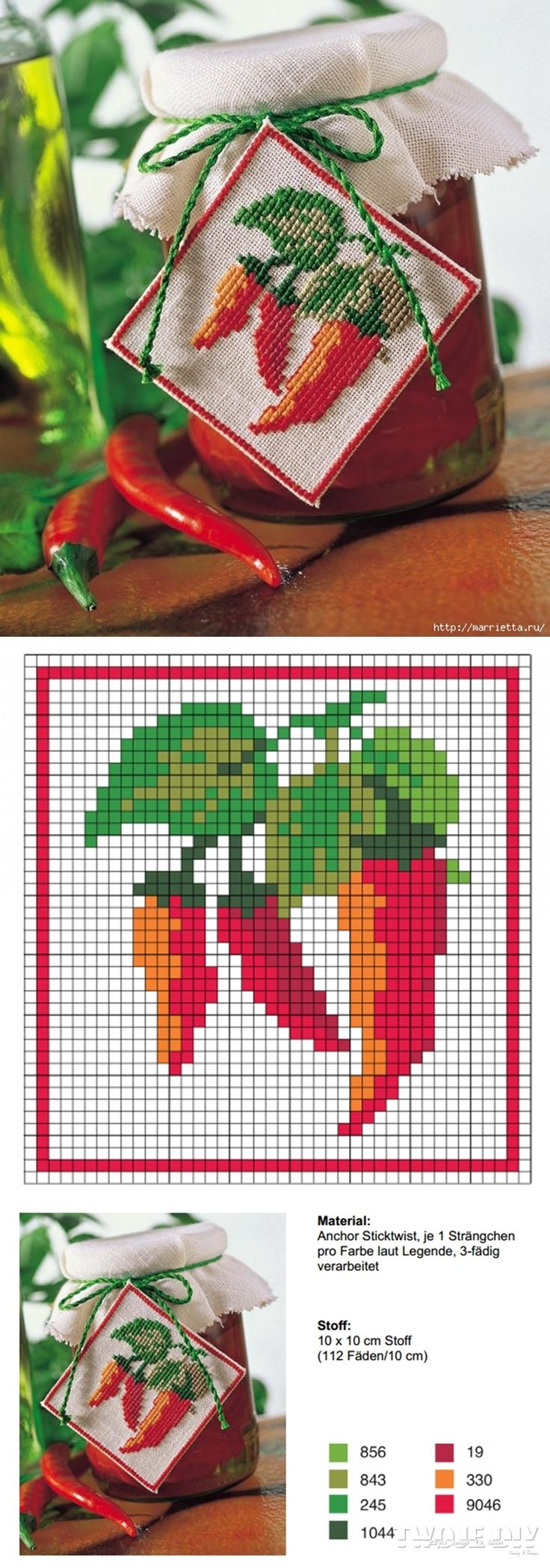 I hate the style here, but the general idea would work for Christmas gifts. A small cross-stitched ornament and canned item.