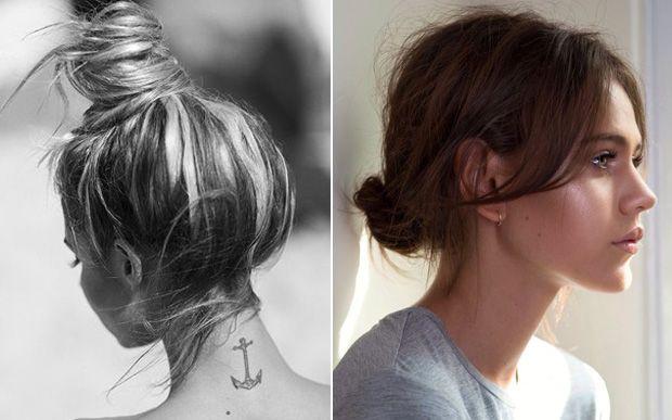 Veja 10 penteados com nozinho para você se inspirar  Coque Você pode investir na versão alta, com o penteado no topo da cabeça em um estilo mais sofisticado, ou usá-lo mais baixo, com os fios bagunçados para dar um charme.