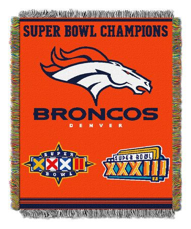 Another great find on #zulily! Denver Broncos Super Bowl Champions Woven Tapestry Throw #zulilyfinds