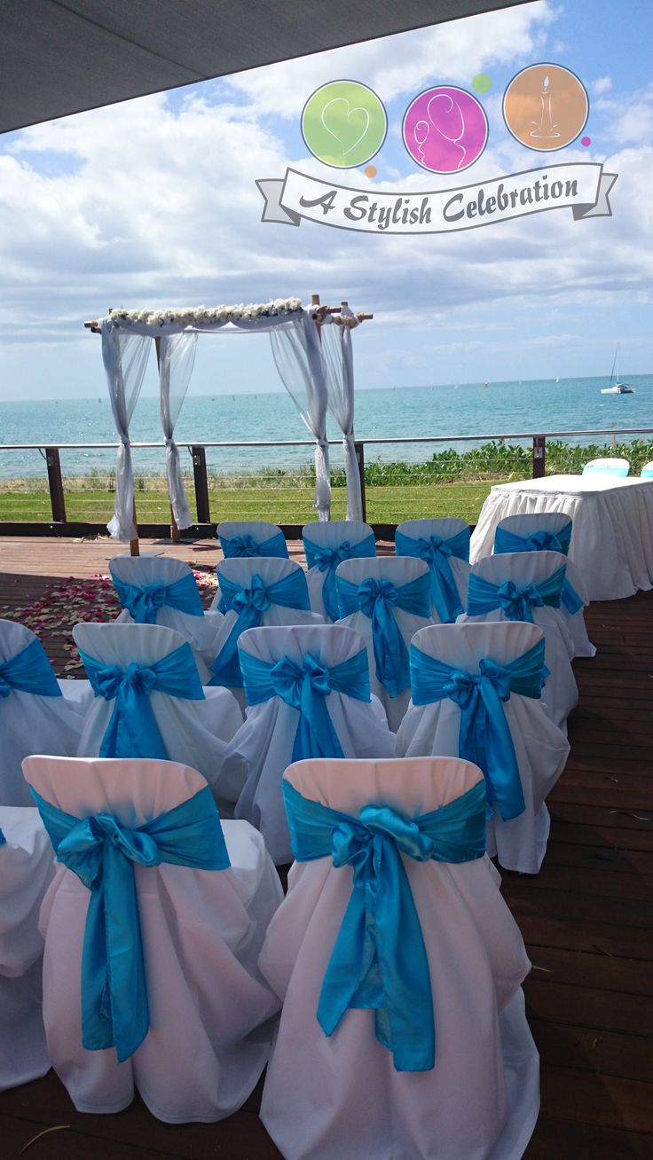 Blue/Aqua is a beautiful colour for a foreshore wedding. #wedding #love #ceremony #auqa #blue #arch #astylishcelebration www.astylishcelebration.com.au