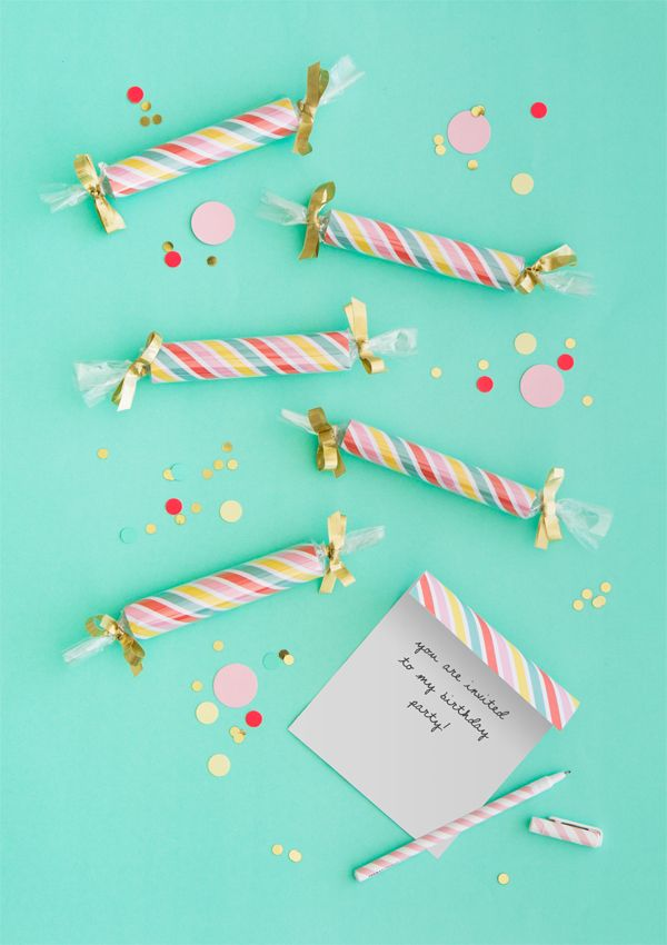 DIY Candy Stick Party Invitations   Oh Happy Day!