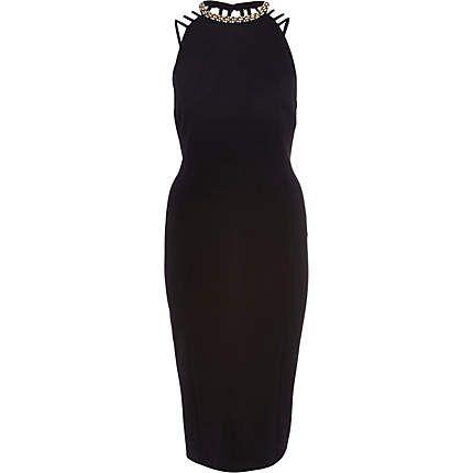 Black embellished strappy backless midi dress �50.00