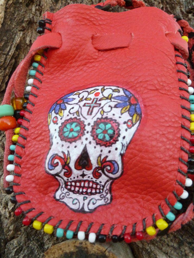Dia de los Muertos Medicine Bag by earthwayspirit on Etsy