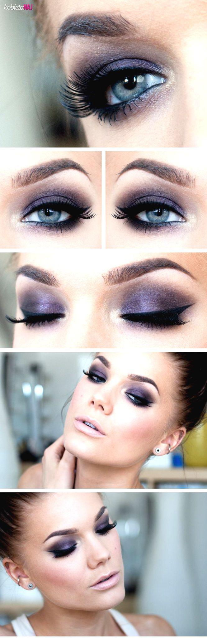 Piękny makijaż wieczorowy: Ciemnogranatowe oczy i blade usta...