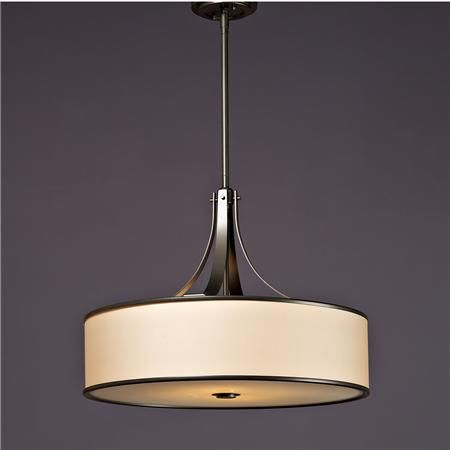 Urban Loft Chandelier This drum shade chandelier offers an added pop of drama and style! Cream organza is encased with metal bands and features a diffuser on the bottom for a soft glow of light. Adjustable telescoping rod.