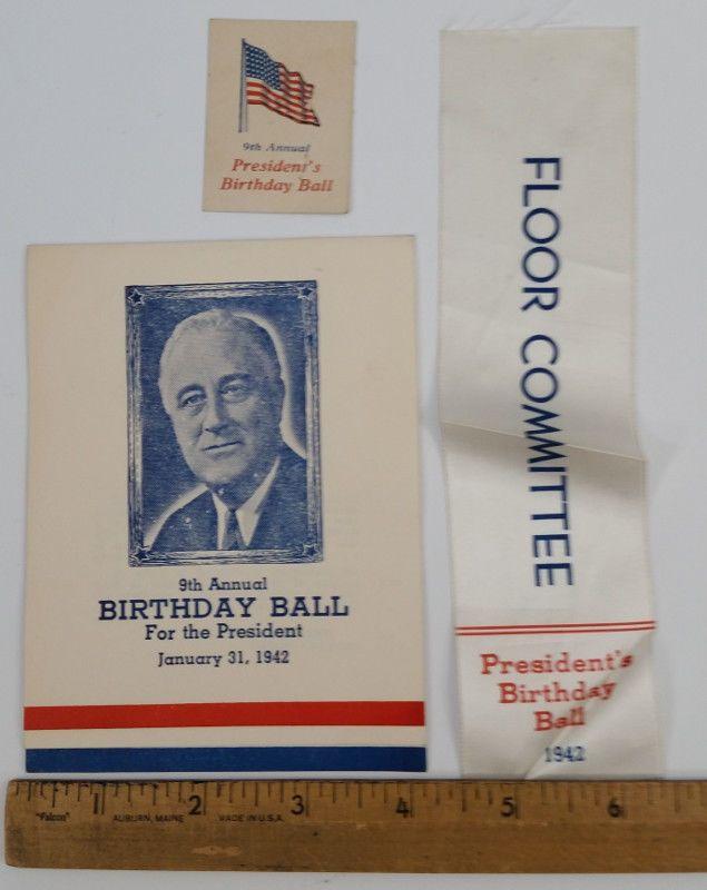 1942 FDR Franklin D Roosevelt President's Birthday Ball Pkg Leadville Colorado