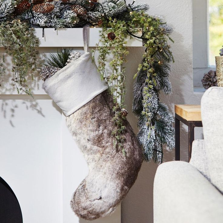 Faux Fur Grey Nordic Christmas Stocking