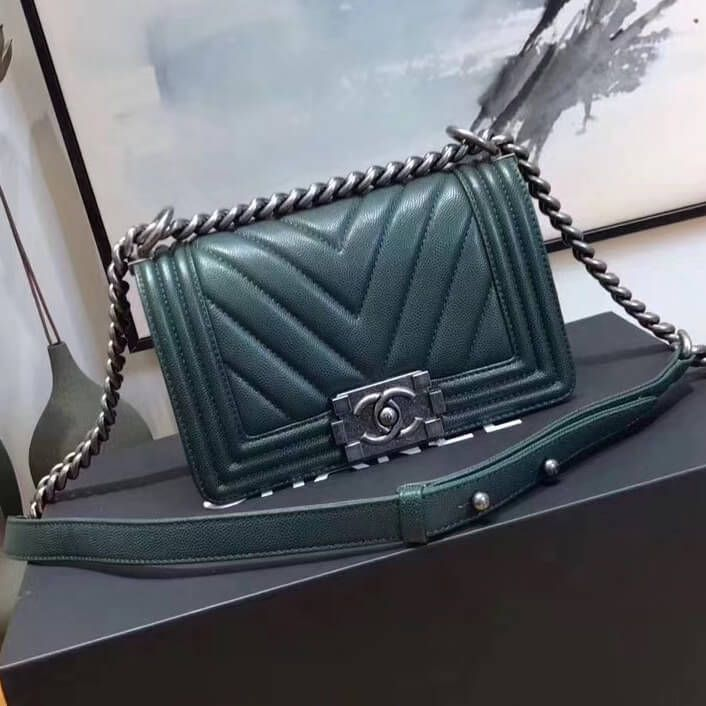 cdf59bb5a24f Chanel Chevron Grained Calfskin Small Boy Flap Bag Green 2017 ...
