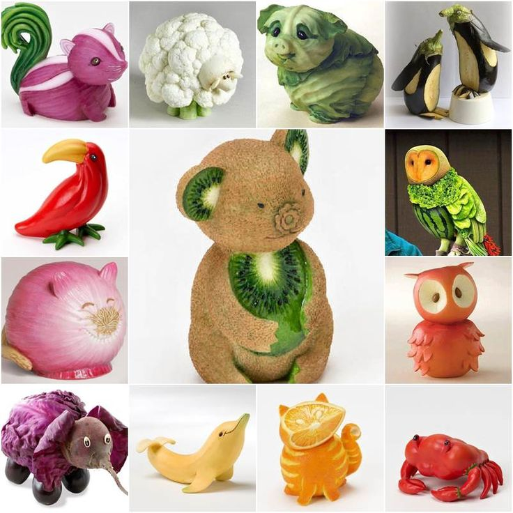 "<input class=""jpibfi"" type=""hidden"" ><p>How cute are these animal sculptures that are made from fruits and vegetables! I am always amazed by the creative minds and skillful hands to make something ordinary (such as fruits and vegetables) to become extraordinary! Dog from cabbage, penguins from eggplant, tortoise from melon, cat from orange, crabs from peppers, …</p>"