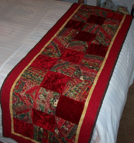 Victorian Christmas 2 Crazy Quilt Bed Runner by lavendersugarplum, on Etsy. Love the colors.