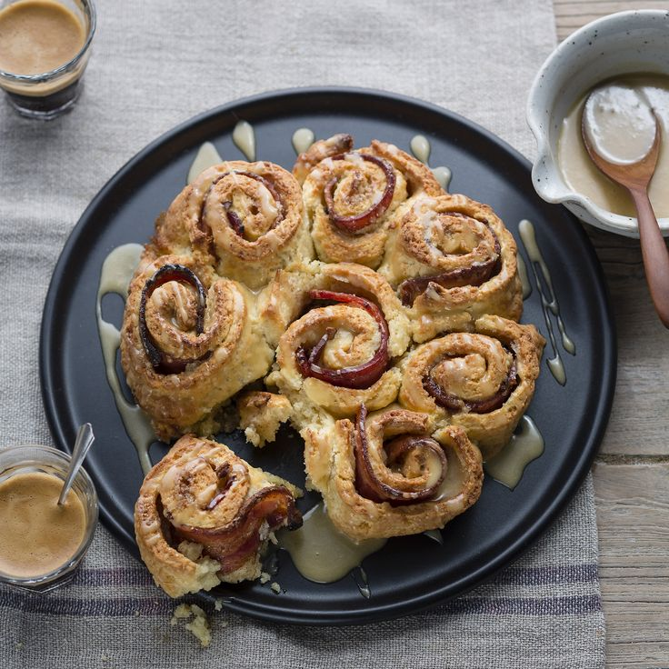 "Thermomix | Bacon and cinnamon scrolls with salted maple glaze | Entertaining with Dani Valent cookbook + recipe chip | ""Brunch"" menu plan 
