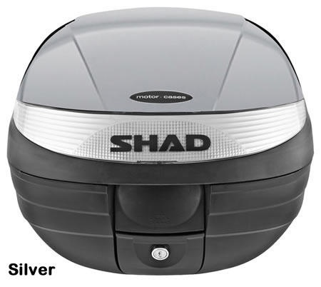 """Shad SH-29 motorcycle top case in silver. Designed to attach to most flat luggage racks. Its dimensions are: 14.9"""" L x 15.7"""" W x 11.8"""" H   and has a 29 liter capacity. Your price is $125.95. With Free Shipping."""