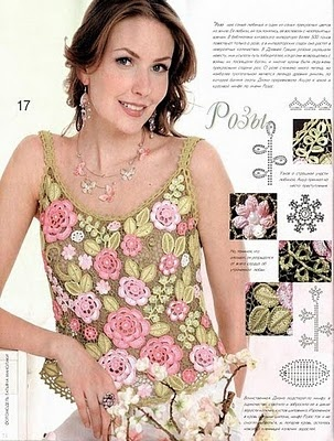 This top has diagrams for the flowers, on how to join them together, it's all about forming a blouse.